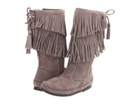 Minnetonka Calf Hi 2 Layer Fringe Boot Grey Women's Zip Boots Gray