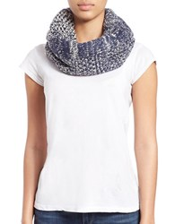 Collection 18 Knit And Faux Fur Lined Loop Scarf Navy Blue