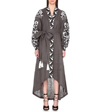 Yuliya Magdych Royal Garden Linen Kaftan Grey Black White