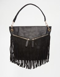 Liquorish Fringe Shoulder Bag Black