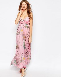 Traffic People Silk Cami Maxi Dress In Floral Butterfly Print Pink