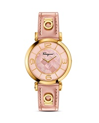 Salvatore Ferragamo Gancino Deco Gold Ion Plated Stainless Steel Watch 39Mm Pink
