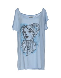 Mary Cotton Couture Topwear T Shirts Women Sky Blue