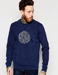 Pretty Green Sweatshirt With Logo Print In Navy Navy