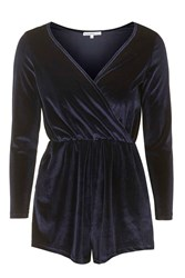 Wrap Over Playsuit By Glamorous Petites Navy Blue