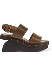 Marni Studded Leather Wedge Sandals Army Green