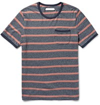 Outerknown Intervals Striped Hemp And Organic Cotton Blend Jersey T Shirt Blue