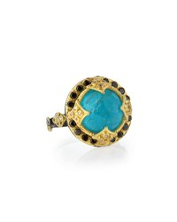 Armenta Old World Midnight 18K Gold Ring In Turquoise And Quartz Blue Turquoise