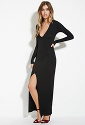 Forever 21 Slit Front Maxi Dress Black