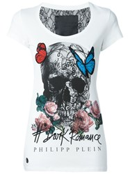 Philipp Plein Butterfly Skull T Shirt White
