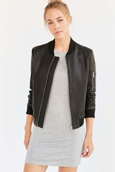Bagatelle It's Real Leather Bomber Jacket Black