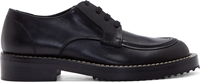 Marni Black Leather Raffia Stitch Derbys