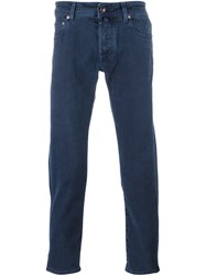 Jacob Cohen Jacquard Slim Fit Chinos Blue