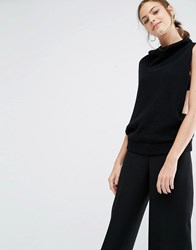 Boss Orange Sleeveless Roll Neck Tank Top Black