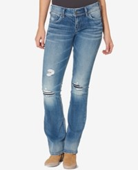Silver Jeans Co. Suki Ripped Medium Blue Wash Bootcut Indigo
