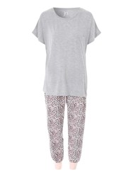 Jane Norman Animal Print Trouser Nightwear Pj Set Grey Marl