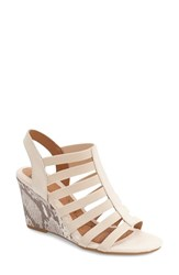 Women's Sofft 'Barstow' Wedge Sandal Ivory Snake Print Leather