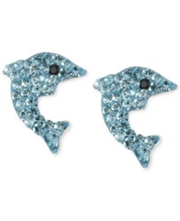 Betsey Johnson Silver Tone Blue Pave Dolphin Stud Earrings