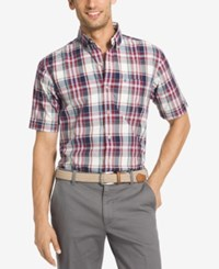 Izod Men's Plaid Short Sleeve Shirt Ice Red Dahlia