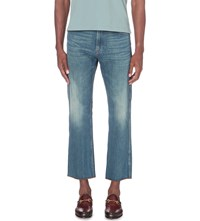 Gucci Tiger Embroidered Regular Fit Cropped Jeans Blue