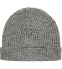 Johnstons Ribbed Cashmere Beanie Light Grey
