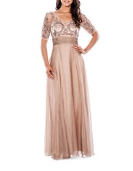 Decode 1.8 Embroidered Beaded Dress Stone