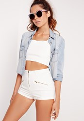 Missguided High Waisted Zip Denim Shorts White White