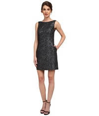 Aidan Mattox Sleeveless Foil Jacquard Dress Gunmetal Women's Dress Gray