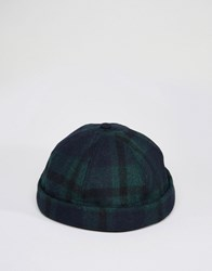 Asos Docker Cap In Black Watch Check Navy Green Multi