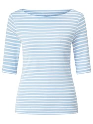 John Lewis Breton Stripe Half Sleeve T Shirt Pale Blue White
