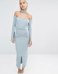 Lavish Alice Rib Knit High Neck Wrap Around Belt Midi Dress Powder Blue