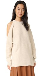 Tibi Boiled Cutout Shoulder Pullover Burlap