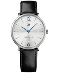Tommy Hilfiger Men's Sophisticated Sport Black Leather Strap Watch 40Mm 1710351 Silver