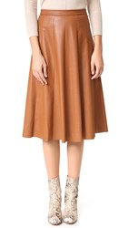 Rebecca Taylor Vegan Leather Midi Skirt Cognac