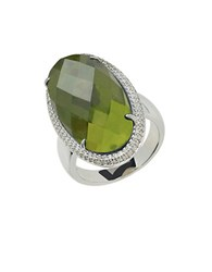 Lord And Taylor Sterling Silver Vesuvianite Diamond Ring Green