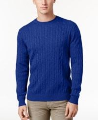 Club Room Men's Pima Cotton Cable Knit Sweater Only At Macy's Lazulite
