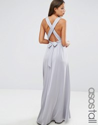 Asos Tall Slinky Ruched Tie Back Maxi Dress Grey