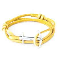 Anchor And Crew Admiral Leather And Silver Bracelet Yellow