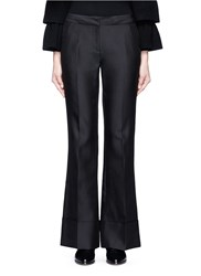 Co Folded Cuff Wool Silk Cashmere Pants Black