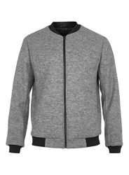 Topman Grey Wool Blend Tailored Bomber Jacket Mid Grey