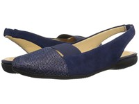 Trotters Sarina Navy Kid Suede Leather Reptile Women's Slip On Dress Shoes