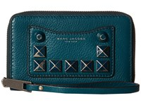 Marc Jacobs Recruit Chipped Studs Zip Phone Wristlet Teal