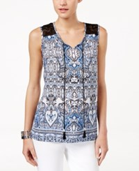 Ny Collection Petite Sleeveless Peasant Blouse Blue Gaper