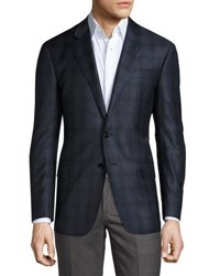 Giorgio Armani Plaid Two Button Sport Coat Bright Blue Navy
