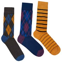 Soxiety Argyle And Striped Mid Calf Socks Set Multi