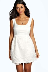 Boohoo Woven Lace Applique Skater Dress Ivory
