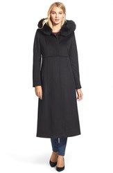 Women's Sachi Genuine Fox Fur Trim Hooded Long Wool Blend Coat