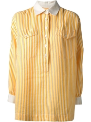 Yves Saint Laurent Vintage Striped Oversized Shirt Yellow And Orange