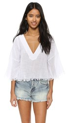 Shakuhachi Sundance Frayed Hem V Neck Top White