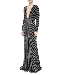 Naeem Khan Long Sleeve Beaded Kimono Gown